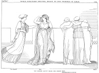 0017277 © Granger - Historical Picture ArchiveHOMER: THE ILIAD.   Venus, disguised as the 'ancient maid,' Groea, visits Helen as she walks on walls of Troy. On the right Trojan women look down onto the battlefield Line drawing by John Flaxman (1755-1826).