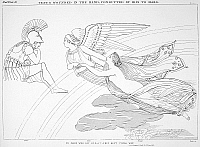 0018157 © Granger - Historical Picture ArchiveHOMER: THE ILIAD.   Venus, who has been wounded in the hand in battle with Diomed, is escorted by 'Winged Iris' to Mars, seated on a cloud. Line drawing, c1805, after John Flaxman.