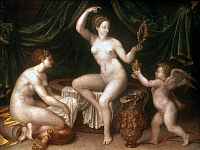 0024810 © Granger - Historical Picture ArchiveAPHRODITE/VENUS.   'Venus at her Toilet.' Oil on canvas by a member of the School of Fontainebleau, c1550.
