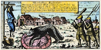 0061070 © Granger - Historical Picture ArchiveWEREWOLF, 1685.   The werewolf of Eschenbach, Germany, trapped in a well. An effigy of the werewolf, clothed as a man, is hanged nearby. Line engraving, German, 1685.