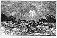 0006800 © Granger - Historical Picture ArchiveNEW MADRID EARTHQUAKE.   The aftermath of the earthquakes in New Madrid, Missouri, 1811-12. Wood engraving, 19th century.