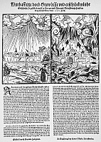 0015776 © Granger - Historical Picture ArchiveITALY: EARTHQUAKES, 1570.   Announcement in a contemporary German woodcut broadside of earthquakes in Italy, at Ferrara and Florence, on 17 November 1570.