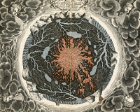 0061916 © Granger - Historical Picture ArchiveMUNDUS SUBETERRANEUS.   The earth depicted in a cross-section as containing a central core of fire surrounded by subterranean lakes and rivers. Engraving from Athanasius Kircher's 'Mundus subeterraneus,' 1664.