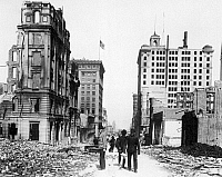 0070637 © Granger - Historical Picture ArchiveSAN FRANCISCO, 1906.   A view down California Street, San Francisco, following the earthquake and fire of 18 April 1906.