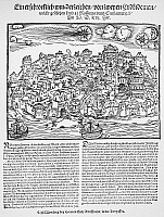 0077343 © Granger - Historical Picture ArchiveCOMET, 1556.   Announcement of a comet and two earthquakes at Rossanna, Italy, and Constantinople on 5 March 1556. Contemporary German woodcut broadside by Hermann Gall.
