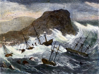 0080997 © Granger - Historical Picture ArchiveEARTHQUAKE AND TIDAL WAVE.  At Arica, Peru (now Chile), 13 August 1868. Contemporary American color engraving.