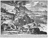 0087426 © Granger - Historical Picture ArchiveJAPAN: EARTHQUAKE, 1650.   The great earthquake at Yedo (Tokyo), Japan, in 1650. Copper engraving, 1669.