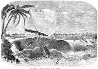 0087551 © Granger - Historical Picture ArchiveCALCUTTA: TIDAL WAVE, 1857.   'The Bore,' or great tidal wave at Calcutta, India in 1857. Wood engraving from a contemporary Indian newspaper.