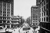0092508 © Granger - Historical Picture ArchiveSAN FRANCISCO, c1900.   'Newspaper Row' at Kearny and Market Streets, San Francisco; at far right stands the Hearst Building, second right the Chronicle Building. Photographed c1900.