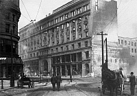 0092564 © Granger - Historical Picture ArchiveSAN FRANCISCO EARTHQUAKE.   Emporium Department Store on Market Street following the earthquake of 18 April 1906.