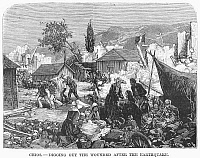 0092655 © Granger - Historical Picture ArchiveGREECE: EARTHQUAKE, 1880.   Digging out the wounded after the earthquake on Chios, a Greek island in the Aegean Sea. Wood engraving, 1880.