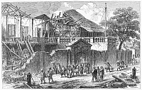 0092657 © Granger - Historical Picture ArchiveMANILA: EARTHQUAKE, 1863.   Ruins of the Danish Consulate at Manila, Philippines, following the earthquake of 1863. Contemporary wood engraving.
