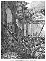 0092658 © Granger - Historical Picture ArchiveMANILA: EARTHQUAKE, 1863.   Nave of the cathedral at Manila, Philippines, after the earthquake of 1863. Contemporary wood engraving.
