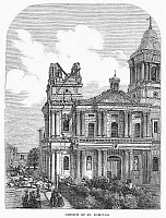 0092662 © Granger - Historical Picture ArchiveMANILA: EARTHQUAKE, 1863.   Church of Santo Domingo at Manila, Philippines, following the earthquake of 1863. Wood engraving from a contemporary English newspaper.