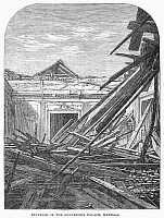 0092668 © Granger - Historical Picture ArchiveMANILA: EARTHQUAKE, 1863.   Interior of the Governor's Palace at Manila, Philippines, after the earthquake of 1863. Contemporary engraving from an English newspaper.