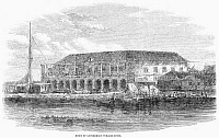 0092670 © Granger - Historical Picture ArchiveMANILA: EARTHQUAKE, 1863.   Ruins of the government tobacco store at Manila, Philippines, after the earthquake of 1863. Contemporary engraving from an English newspaper.