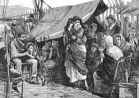 0092677 © Granger - Historical Picture ArchiveFRANCE: EARTHQUAKE, 1887.   Refugees encamped in the Rue Pertinax, Nice, France, following an earthquake on the Riviera. Wood engraving, 1887.