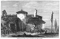 0092678 © Granger - Historical Picture ArchiveITALY: EARTHQUAKE, 1873.   Ruins of the church of San Pietro di Feretto after an earthquake near Venice, Italy. Wood engraving, 1873.