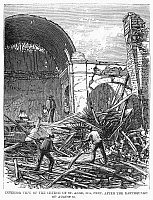 0092680 © Granger - Historical Picture ArchivePERU: EARTHQUAKE, 1868.   Interior view of the Church of St. Anne at Ica, Peru, after the earthquake of 13 August 1868. Contemporary wood engraving.
