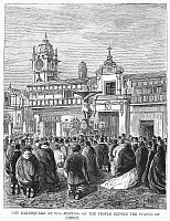 0092681 © Granger - Historical Picture ArchivePERU: EARTHQUAKE, 1868.   Crowd in a public square at Ica, Peru, after the earthquake of 13 August 1868.
