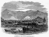 0095405 © Granger - Historical Picture ArchiveST. THOMAS: EARTHQUAKE.   Wrecked ships in the harbor of St. Thomas, Danish West Indies, a result of the tsunami that followed an earthquake in the ocean between St. Thomas and St.Croix, 18 November 1867. Wood engraving from a contemporary English newspaper.