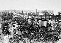 0118883 © Granger - Historical Picture ArchiveTOKYO EARTHQUAKE, 1923.   A view of the center of Tokyo, Japan, following the earthquake and fire that devastated the city on 1 September 1923, killing about 143,000 people. Buildings that are still standing in the photo were made of concrete.