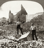 0119410 © Granger - Historical Picture ArchiveSAN FRANCISCO EARTHQUAKE.   Two men standing with a safe amid the rubble, following the earthquake of 18 April 1906. Stereograph, 1906.