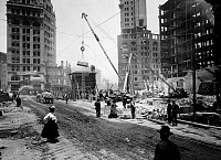 0119420 © Granger - Historical Picture ArchiveSAN FRANCISCO EARTHQUAKE.   Repairing the destruction at Third, Kearney, and Market streets, following the earthquake of 18 April 1906.