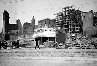 0119421 © Granger - Historical Picture ArchiveSAN FRANCISCO EARTHQUAKE.   Amid the rubble, a new shoe store opens on the site of Phelan Building on Market Street, following the earthquake of 18 April 1906.