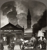 0119551 © Granger - Historical Picture ArchiveSAN FRANCISCO EARTHQUAKE.   A horse drawn fire engine in front of the Harbor Emergency Hospital with the Union Ferry Bldg. in the background, following the earthquake of 18 April 1906. Stereograph, 1906.