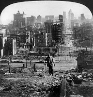 0119556 © Granger - Historical Picture ArchiveSAN FRANCISCO EARTHQUAKE.   A man walking through the ruins on Kearney Street from Telegraph Hill, following the earthquake of 18 April 1906. Stereograph, 1906.