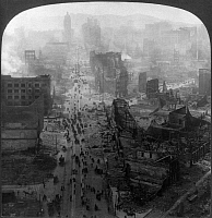 0119557 © Granger - Historical Picture ArchiveSAN FRANCISCO EARTHQUAKE.   Aerial view of Market Street with fires blazing, following the earthquake of 18 April 1906. Stereograph, 1906.