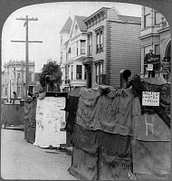 0119561 © Granger - Historical Picture ArchiveSAN FRANCISCO EARTHQUAKE.   Street kitchens named as famous hotels in San Francisco, following the earthquake of 18 April 1906. Stereograph, 1906.