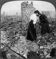 0119569 © Granger - Historical Picture ArchiveSAN FRANCISCO EARTHQUAKE.   Two women searching through the rubble for valuables, following the earthquake of 18 April 1906. Stereograph, 1906.