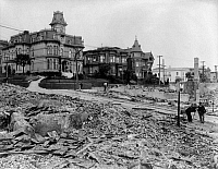 0119572 © Granger - Historical Picture ArchiveSAN FRANCISCO EARTHQUAKE.   The edge of the burned district, corner of Franklin and Sacramento Streets, following the earthquake of 18 April 1906.