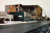 0185858 © Granger - Historical Picture ArchiveALASKA: EARTHQUAKE, 1964.   The five-story J.C. Penney Building on 5th Avenue and Downing Street in Anchorage, Alaska, which collapsed during the earthquake of 27 March 1964. Photograph, 1964.