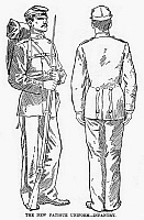 0093756 © Granger - Historical Picture ArchiveU.S. ARMY: FATIGUES, 1882.   New fatigues for U.S. Army Infantry soldiers. Wood engraving, 1882.