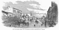 0093758 © Granger - Historical Picture ArchiveFLOODS: MARIETTA, 1860.   View of Front Street, Marietta, Ohio, on the morning of the Flood of 1860. Contemporary wood engraving from an American newspaper.