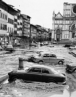 0124014 © Granger - Historical Picture ArchiveFLORENCE: FLOOD, 1966.   Stranded cars in the square in front of the Basilica of the Holy Cross, during the flood of the Arno River in Florence. Photograph, 5 November 1966.