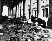 0124015 © Granger - Historical Picture ArchiveFLORENCE: FLOOD, 1966.   Books and manuscripts from the Florence State Archives damaged during the flood of the Arno River, piled in front of the Uffizi Gallery. Photograph 21 November 1966.