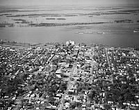 0163536 © Granger - Historical Picture ArchiveMISSISSIPPI RIVER: FLOOD.   Aerial view of Caruthersville, Missouri, during a flood of the Mississippi River, 5 April 1973.