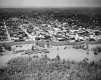 0163537 © Granger - Historical Picture ArchiveMISSISSIPPI RIVER: FLOOD.   Aerial view of Helena, Arkansas, protected by levees during a flood of the Mississippi River, 8 April 1973.