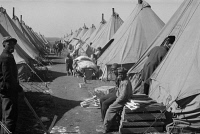 0325232 © Granger - Historical Picture ArchiveARKANSAS: REFUGEES, 1937.   A street of tents at the camp at Forrest City, Arkansas, after the Ohio River flood. Photograph by Edwin Locke, February 1937.