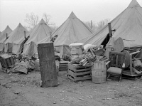 0325236 © Granger - Historical Picture ArchiveARKANSAS: REFUGEE CAMP.   Salvaged furniture at the camp at Forrest City, Arkansas, after the Ohio River flood. Photograph by Edwin Locke, February 1937.