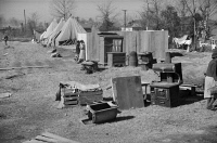 0325397 © Granger - Historical Picture ArchiveARKANSAS: REFUGEE CAMP.   Salvaged furniture at the camp at Forrest City, Arkansas, after the Ohio River flood. Photograph by Edwin Locke or Walker Evans, February 1937.