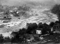 0325409 © Granger - Historical Picture ArchivePENNSYLVANIA: FLOOD, 1911.   A view of Austin, Pennsylvania, after the failure of the dam in 1911. Photograph, 1911.