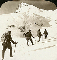 0002891 © Granger - Historical Picture ArchiveALPINE MOUNTAINEERS, 1908.   'Ascent of Jungfrau, beginning final climb to the summit along the dangerous Rotthal Sattol, Switzerland.' Stereograph, 1908.