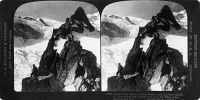 0325896 © Granger - Historical Picture ArchiveALPS: MONT BLANC, c1908.   Alpinists during the ascent of Mont Blanc. Stereograph, c1908.