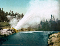 0129178 © Granger - Historical Picture ArchiveYELLOWSTONE PARK: GEYSER.   Riverside Geyser eruption in Yellowstone National Park, Wyoming. Photochrome, c1905.