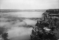 0129231 © Granger - Historical Picture ArchiveGRAND CANYON, c1905.   Fog over the Grand Canyon in Arizona, near the El Tovar Hotel. Photographed c1905.